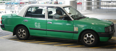 green hong kong taxi